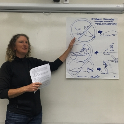 Kate Spencer from Fast Raft Whale Watching, shows off ideas for symbolic messaging from group session